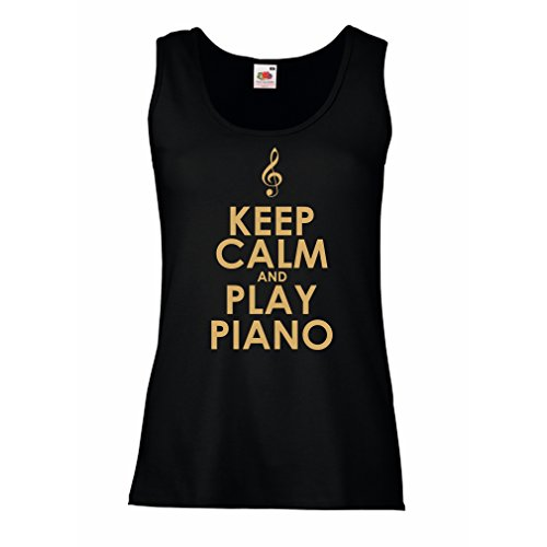 Serbatoio,Maglietta senza maniche femminile Ascolta pianoforte - citazioni di musicisti Nero Oro