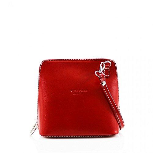 LeahWard® VERA PELLE ITALY GENUINE Cuir Sac À Betoulière Sac Betoulière Petit Sacs (Rouge H16cm x W18cm x D8cm)