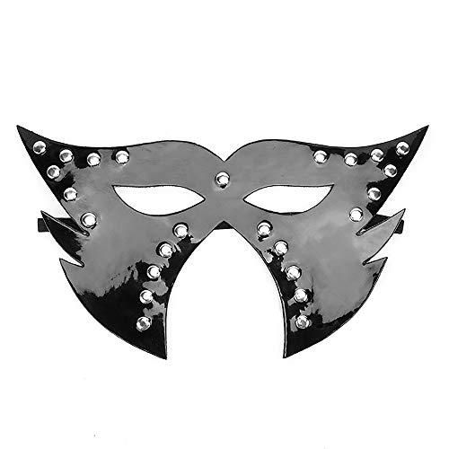 Sexy maske, lackleder fuchs maske elastizität teleskop gürtel design spaß augenmaske make-up requisiten für nachtclub party paar flirten,B (Halloween Eye Mask Make-up)