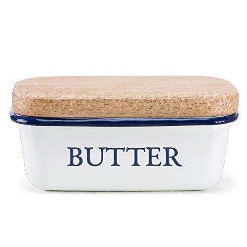 Butterdose - Multi-Funktion Emaille Butter Boot mit Deckel weiß - von SveBake Geschirr Für Boote
