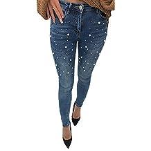 BOLAWOO Pantalone Jeans Donna Elasticizzato con Perle Skinny Unita Jeans  Tinta con Tasche Mode di Marca 554b9018cd4