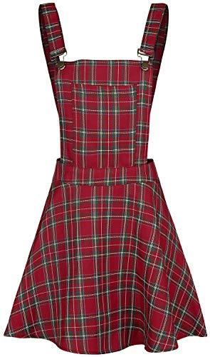 Jawbreaker Damen Latzkleid Tartan Plaid (Rot, XL)