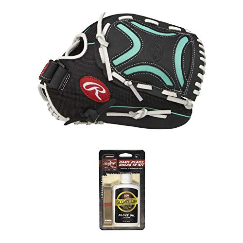 """Rawlings Champion Lite Fastpitch Softball Glove with Decorative X Web (11.5\"""" - Right Hand Throw) and Game Ready Break-in Kit - Value Bundle"""