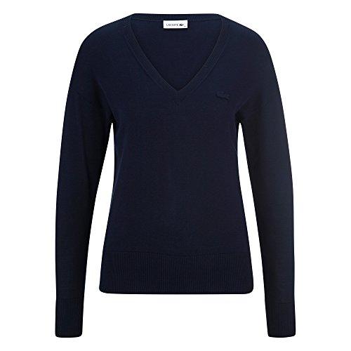 Lacoste AF1782 Damen Pullover V-Ausschnitt,Frauen Basic Strickpullover,Freizeit und Business Pulli,Regular Fit,Baumwolle,Navy Blue(166), 44 -