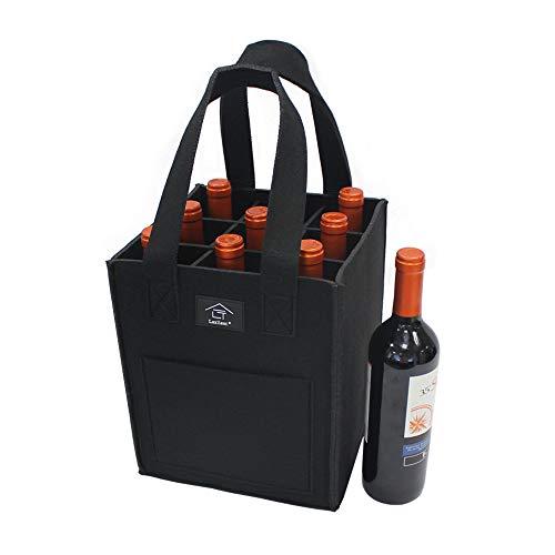Laxllent Wein Tasche,Flaschenkorb,Flaschentasche,Bier Tasche, Geschenk Tasche für Picknick,Party,Strand Urlaub,Wiederverwendbar,9 Flaschen,Schwaz