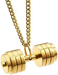 GYFY Acero de Titanio mancuerna Collar Colgante Aptitud Barbell Colgante Deportes joyería,Gold