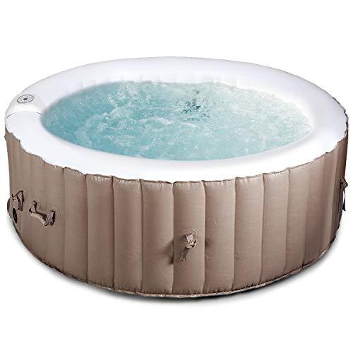 GOPLUS Aufblasbares Whirlpool, Lazy Spa Pool für 4 Personen, Badewanne mit Heizfunktion, Bubble Spa mit 100 Massage-Luftdüsen, 800 Liter, mit Filterpumpe, Massage zu Hause, für Indoor und Outdoor