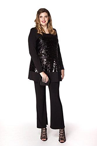 Yoek Damen Übergrößen Langarmshirt mit Pailletten Schwarz