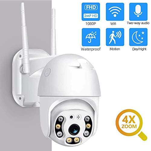 Draussen WiFi Überwachungskamera, 1080P Pan Tilt Zoomen Überwachung CCTV IP Wetterfest PTZ Kamera mit Zweiwege-Audio Bewegungserkennung Farbenfroh Nachtsicht -