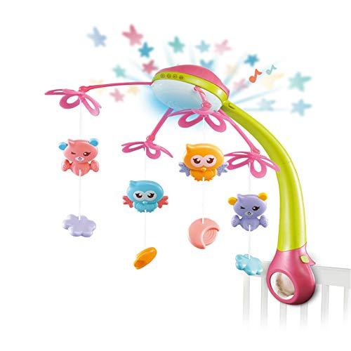 Moonvvin Mobile für Babybett, mit Musik, zum Aufhängen, niedliche Tiere, Spielzeug mit Licht, Projektor