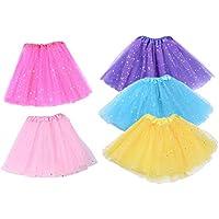 Toyvian Falda del Entrenamiento de la Danza del Ballet del tutú de la Gasa del Ballet de la Muchacha para los niños (Rosado + Amarillo + Azul Claro + Rosa + Azul Marino)