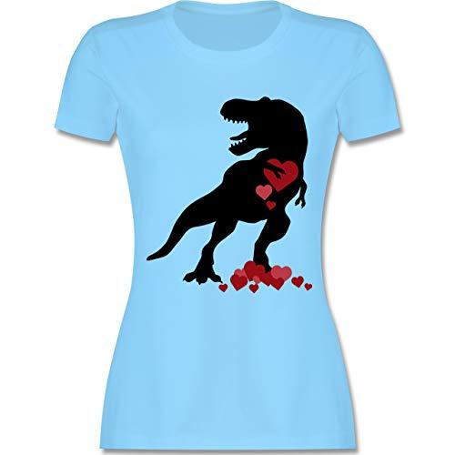 Valentinstag - T-rex mit Herzen - Valentinstag - M - Hellblau - L191 - Damen Tshirt und Frauen T-Shirt