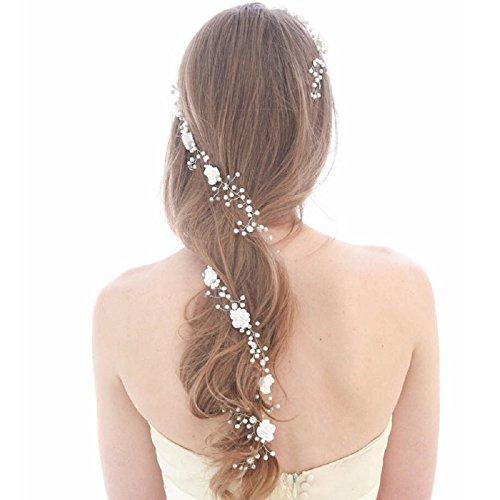 JUYUAN 1 PCS Brautschmuck Vintage Kristall Pearl Vine Haarbänder Hochzeit Haar Zubehör ,Romantisch Perle Kristall Stirnbänder Krone Haarpins Brautschmuck