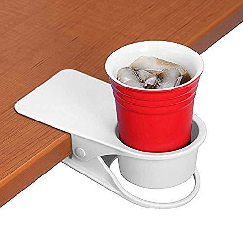 BYBOT Getränkehalter Clip - Tisch Schreibtisch Seite Flasche Cup Stand Wasser Kaffeetasse Halter Untertasse Clip Design für Home & Office (weiß) -