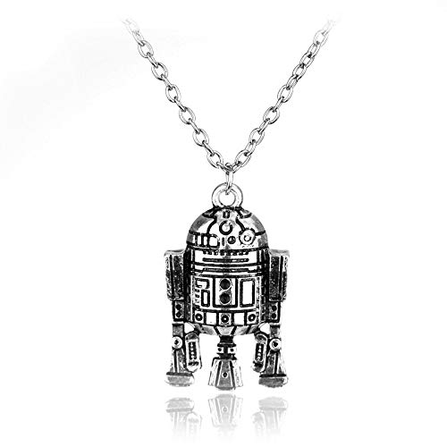 r Männer Star Wars Robot R2d2 Pendant Necklace Maxi Long Necklace Schmuck for Women Men Best Friend Ship Gift Sikver Schmuck ()