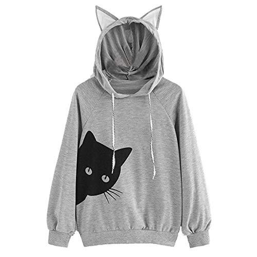 Frauen Katze Pullover weibliche Lange Ärmel Hoodie Sweatshirt mit Kapuze Katze Druck Tops Bluse mit Ohr Moonuy