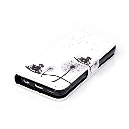 CareyNoce PU Leder Wallet Case Folio Schutztasche für iPhone 5c (4,0 Zoll) Tasche Hülle Handytasche Etui Schale Backcover Flip Cover im Bookstyle mit Standfunktion Kredit Kartenfächer (Löwenzahn,Be Fr M02