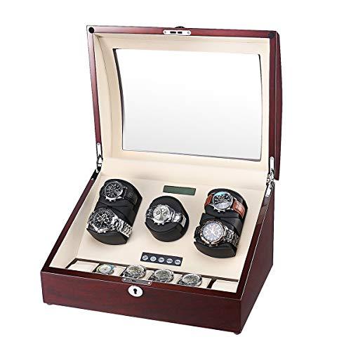 aublan Holz drei Rotoren Automatische Uhrenbeweger 5+ 6Aufbewahrungsboxen für 11Uhren mit LCD-Display, WW-8178-MAH-CR