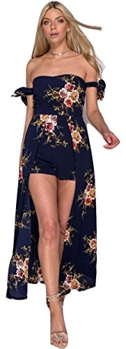 Damen Krawatte Bardot Maxi Kleid mit Shorts EUR Größe 34-42 Marine