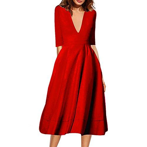 Belle Style Rückenfrei Kleid Damen IHRKleid® Elegant Etuikleid Knielang Festliche Kleider (XL, Rot) (Black Rock-karriere)