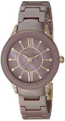 Anne Klein Women's AK/2388MVGB Swarovski Crystal Accented Gold-Tone and Mauve Ceramic Bracelet Watch
