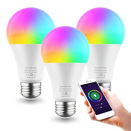 Smart LED Lampe E27 9W Wifi Lampen RGBW Wlan Birne Kompatibel mit Alexa Google Home, 900 lm, Farbige Glühbirne, Timing Funktion, 2700K-6500K Dimmbare via App, Ohne Hub Benötig - 3Pack