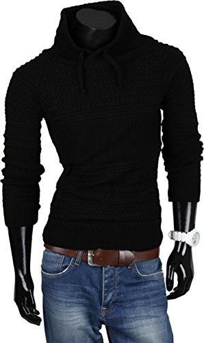 VAN HILL Herren Pullover Strickjacke Grobstrick Kapuzenpullover Zipper Rollkragenpullover Winter Größe S - XXL Schwarz Brooklyn