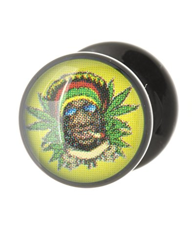 ) Flesh Ohr Stash Plug Smoking Rasta Design Acryl (Smoking Rasta)