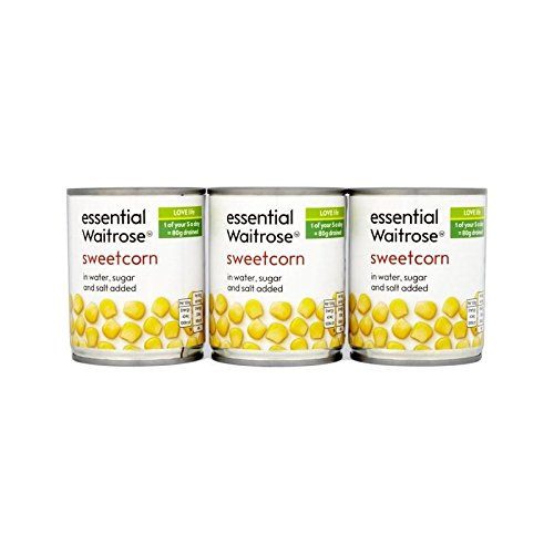 Sweetcorn Pack Triple Waitrose Essentiel 3 X 195G - Paquet de 6