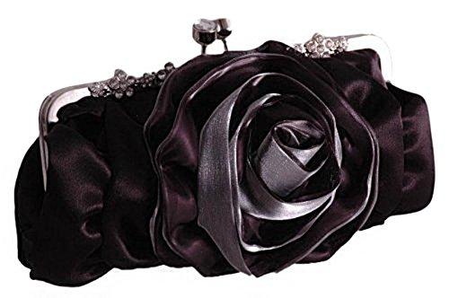 Satin Rose Damen Hochzeit Braut Abend Party Unterarm Handtasche Pink Schwarz