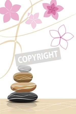 "Poster-Bild 100 x 70 cm: ""Spa stones and abstract flowers - place for your text"", Bild auf Poster"