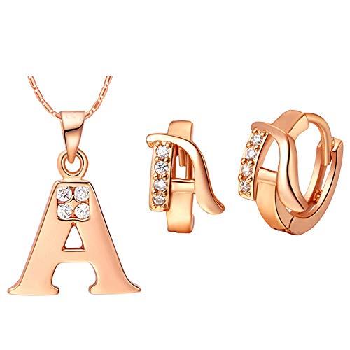 UMtrade Charme Strass Damen 26 Initiale Brief Huggie Ohrringe Halskette Schmuck Set Rose Gold