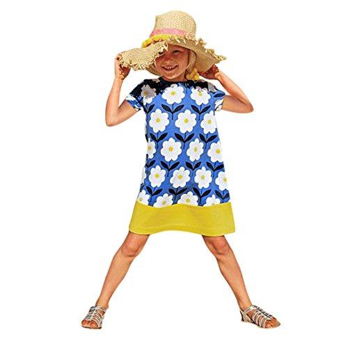 Mädchenkleid für 0 – 6-jährige Mädchen von Janly® - Mädchenkleid mit gezeichnetem Blumenmuster, Sommer- und Strandkleid für Kleinkinder, blau, 3-4 Jahre (Halloween Kostüme Für 11 12 Jährige)