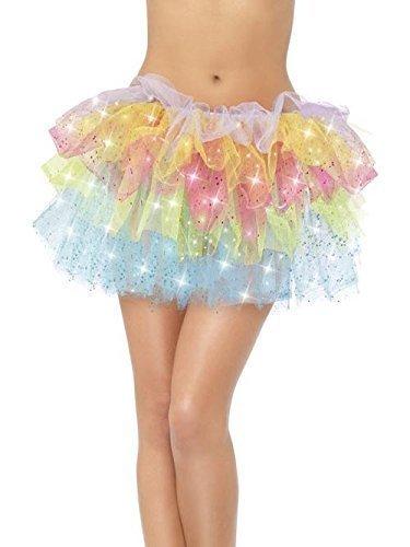 Damen Glitzer Bunt Glitzer Rainbow Fest Kostüm Kleid Outfit Tutu Petticoat Ballerina Rock (Tutu Glitzer)