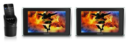 Philips PV9002i/12 Tragbarer Video-Player für Apple iPod/iPhone/iPad (23 cm (9 Zoll) LCD-Display, 500mW RMS) schwarz-silber