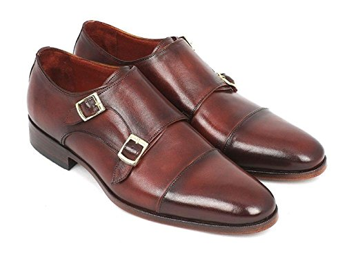 DE SCALZO Brown Leather Antique Finish Double Monk Strap Shoes for Men