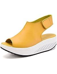 YOGLY Sandalias de Verano Mujer de Velcro Sandalias Mujer Plataforma Cuero Cuña Confort Peep Toe Tacón Zapatos