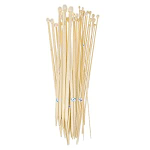 niceeshop 18 Sizes 36cm Bamboo Knitting Needles Single Pointed Sizes 2.0-10.0mm