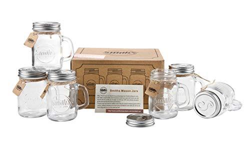 Smith's Mason Jars, 6 boccali a forma di barattolo, da 473 ml, con coperchio
