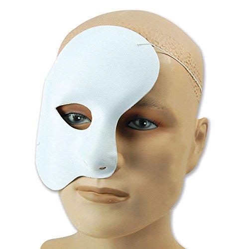 Bristol Novelty EM101Phantom Stoff Eye Maske, weiß, Einheitsgröße