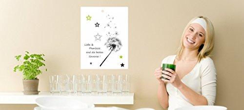 Magnettafel für KochchipsRezeptchiphalter für Thermomix Pusteblume Spruch grün