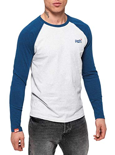 Superdry Herren T-Shirt Rundhals Langarm (Ice Marl) S
