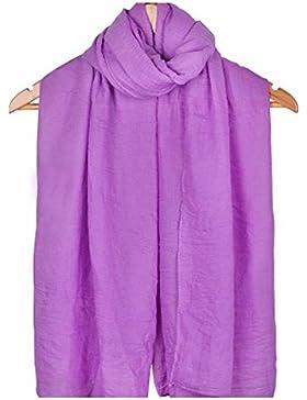 Leisial™ Mujer Bufanda de Lino Suave Chal Grande Sólido Color Uso Doble Bufanda Larga para Primavera Otoño e Invierno