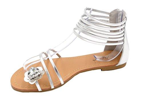Damen Zehenring Sandaletten Blume Strass Römersandalen Riemchen Schuhe (8464) (39, Silber metallic) (Kleid Zehenring Sandalen)