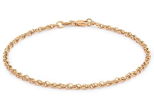 Carissima Gold Damen Hollow 2.1mm Diamantschliff Prinz von Wales Armband Rotgold 18 cm/7 zoll 5.29.4301