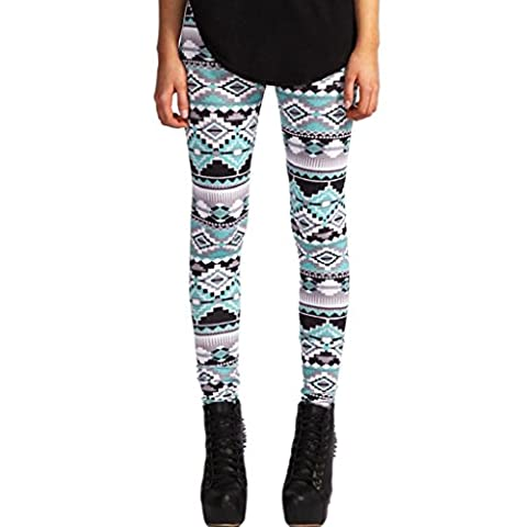OverDose Women Casual Geometric Print Stretchy Pants Leggings