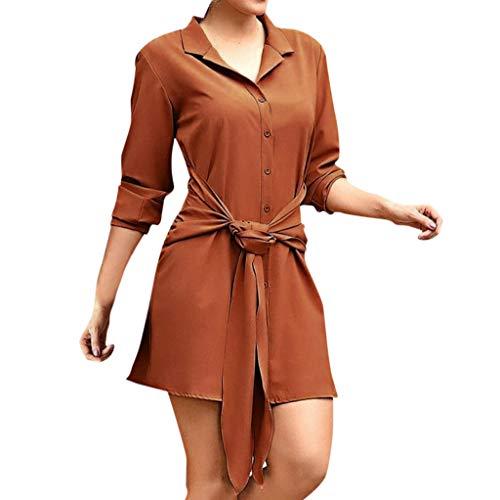 Krawatte Gürtel Mini (Kleider Sommer,Kleid Damen Elegant Frauen Casual Dress Turndown Neck Langarm Kleid Knopf Krawatte Kleid Party Hochzeitsgast Kleid Von Evansamp(Kaffee,M))