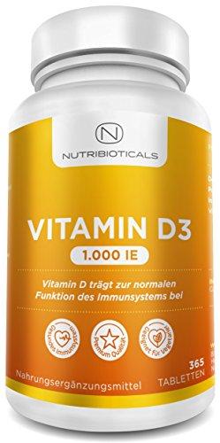 Vitamin D3 1000 IE 365 Tabletten Jahresvorrat (keine unangenehmen Softgel-Kapseln) von Nutribioticals (Vitamin-d-ergänzung)