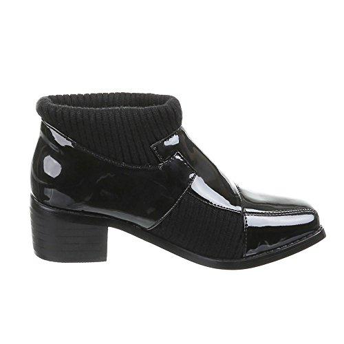 Damen Schuhe Stiefeletten Moderne Schlüpfboots Schwarz Blau Beige 36 37 38 39 40 41 Schwarz