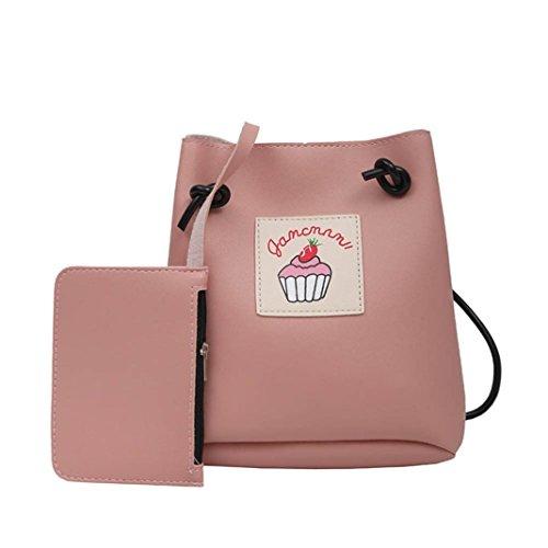 2pc VENMO Mädchen Frauen drucken weibliche einfache Tasche Crossbody Schultertasche + Geldbörse (Beliebt Geldbörsen)